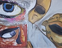 Eyes and Mask Mixed Media on MDF board 4ft x 2.5 ft