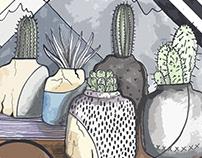 Cactus and Succulent Urban Illustration