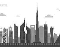Dubai Skyline - Grayscale