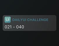 Daily UI Challenge (021 - 040)