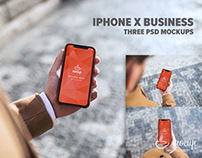 3 PSD Mockups iPhone X Business