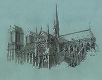 Gothic Cathedrale's draw Notre Dame de Paris