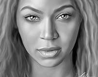 Beyoncé Digital Oil Painting by Wayne Flint