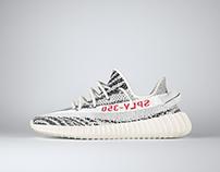 3D Adidas Yeezy Boost 350 v2 - Zebra