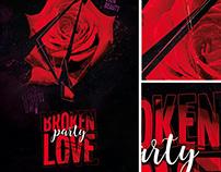 Broken Love Party Flyer Template with Facebook Timeline