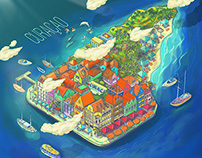 Caribe Bonito - Illustration for Royal Caribbean
