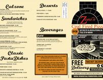 Zoni's Coal Fired Pizza Menu Card Design