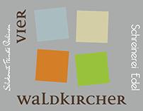 Vier Waldkircher, Klappkarte 12seitig, Wickelfalz