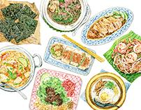 Singapore Airlines food illustration