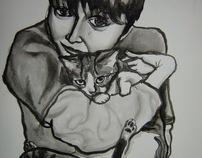Black & White in pen, ink & watercolour