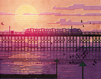 Pier Train Poster