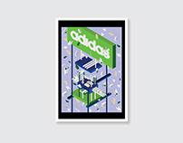 Design: Isometric Adidas Shoe City Illustration