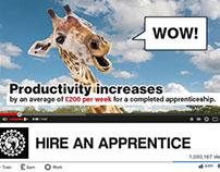 Apprenticeships; film, ooh, online, press/print, event.