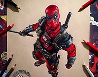 Deadpool: Prismacolor Pencil Portrait