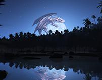 Wallpaper - Dragon on the Moon