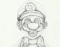 Desenho Super Mario com hachuras