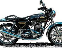 NORTON COMMANDO 850 vintage motorcycle vector art print