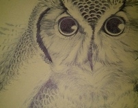 Owl and Skeleton Ink drawing (Finished)