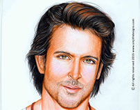 Actor Hrithik Roshan - Realistic Colored Pencil Drawing