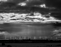 Wind Farm on the Lincolnshire coast. UK