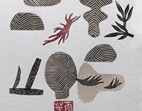 Zen Garden | linocut monotype prints