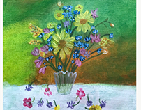 Colorful flowers in glass vase-Acrylic painting