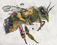Honey Bee Nature Surrealism Original Art
