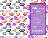Watercolor Lips seamless patterns