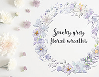 Watercolor wreaths in smoky grey florals