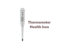Grey Thermometer Health Icon