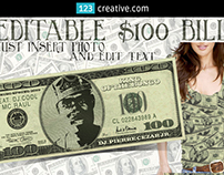 Dollar Bill mockup template PSD editable face and text
