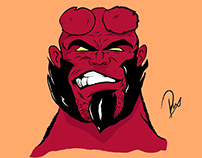 Hell Boy Illustration with brush tool only.