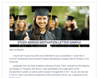 Study Abroad Motivation Letter Sample