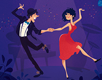 Illustration dancing couple