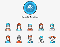Flat line color icons -People Avatars