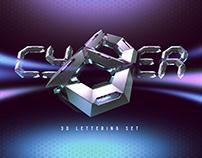 Cyber 3d lettering set