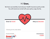 Email design for Insurance policy order detail