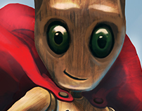 bonequinho de madeira super fan de quadrinhos, de uma h