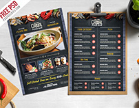 Free PSD : Chalkboard Style Food Menu PSD Template