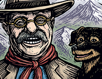 Teddy Roosevelt and Skip: Sketches and Process