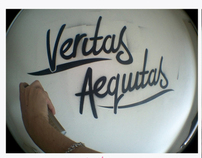 """Veritas Aeguitas""    Wall stencil spray painting"