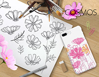 Line art Cosmos or Cosmea flowers. Summer coloring.
