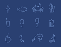 Vestfjorden restaurant — Pictogram set
