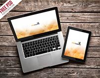 Freebie : Macbook Pro And Ipad Mockup Template PSD