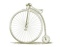 Woodcut Vintage Bicycle