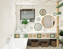 Kids bathroom #green #beige #wood #microcret