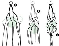 Macetero de macramé. Ilustración