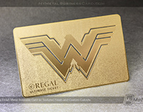 Wonder Woman Gold Brass Metal Business Card Ticket