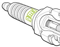 Spark plug line art