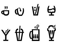 Helvetica Drinkware Icons